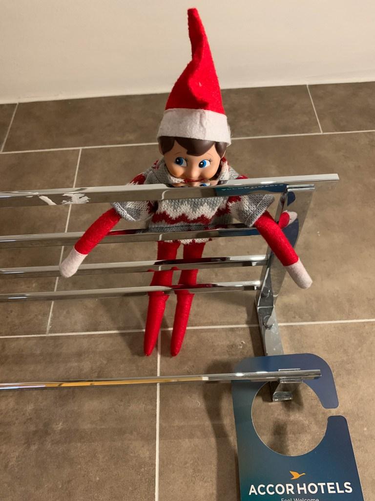 Elf on the Shelf in a hotel