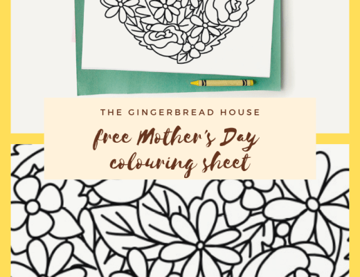 Free Mother's Day colouring page for kids from the gingerbread house