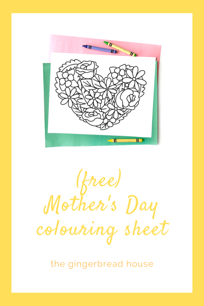 Free Mother's Day colouring page for kids from the gingerbread house blog