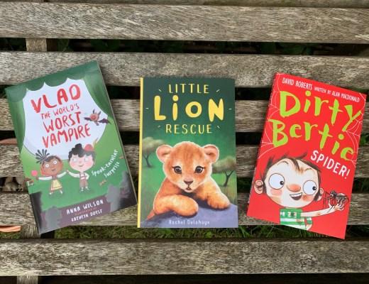 three books on a bench