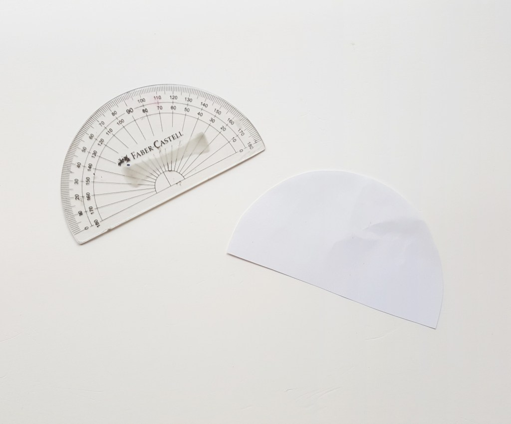 protractor and piece of paper