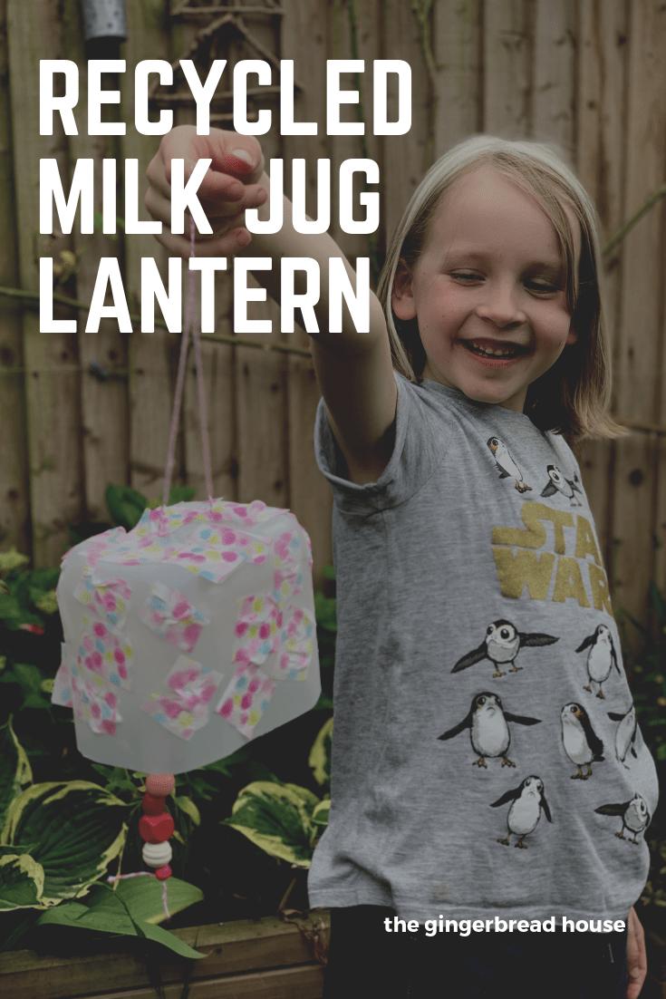 Recycled milk jug lantern