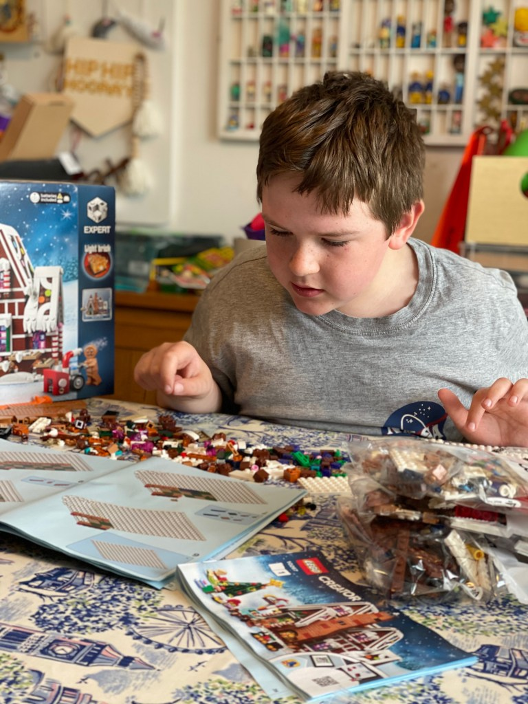 building the Lego Gingerbread House