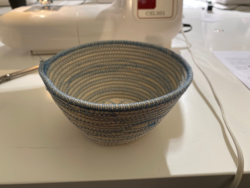 how to machine sew a coiled pot