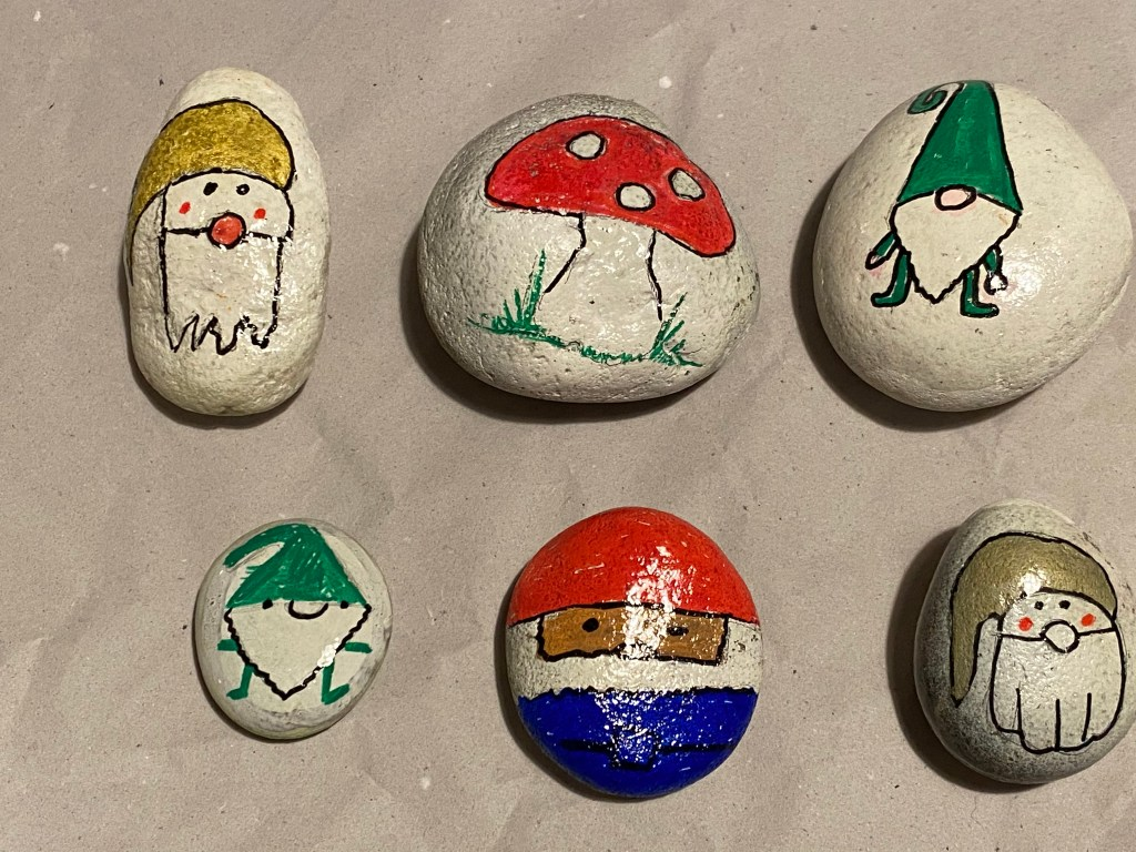 Christmas gnome painted rocks