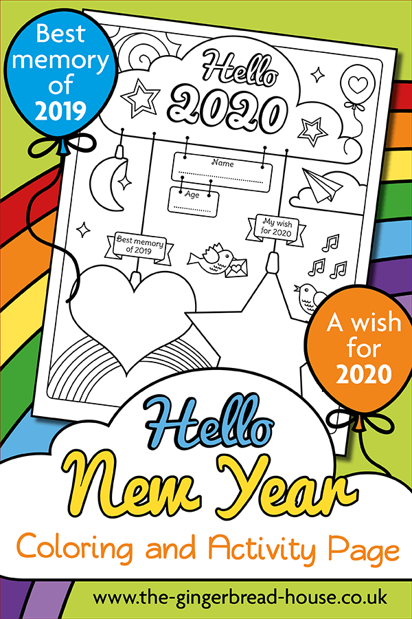 Happy New Year 2020 colouring page
