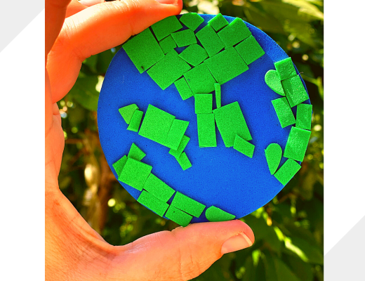 Simple Earth Day mosaic craft for kids