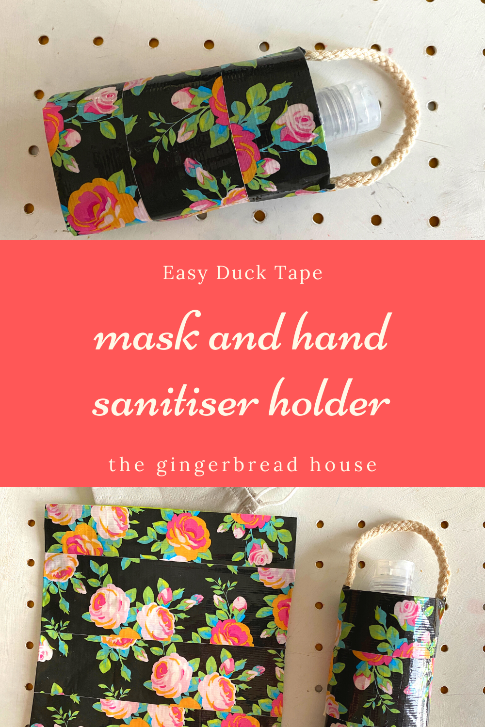 Easy Duck Tape hand sanitiser holder