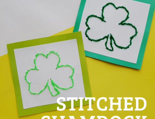 Stitched Shamrock craft for kids