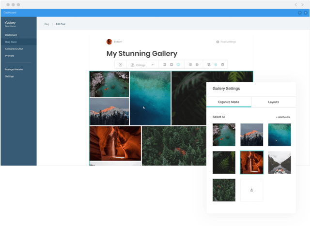 Inserting a professional gallery of images with the Wix Pro Gallery inside of a blog post