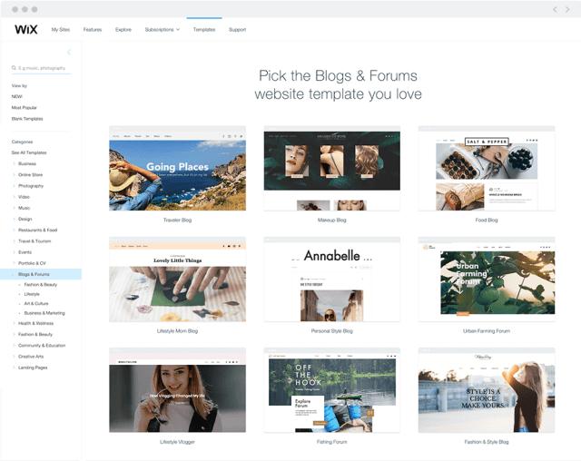 An array of stunning Wix website templates for blogs