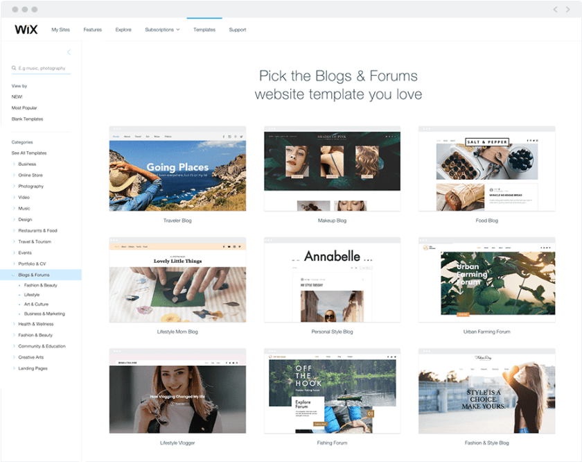 An array of stunning Wix website templates for blogs