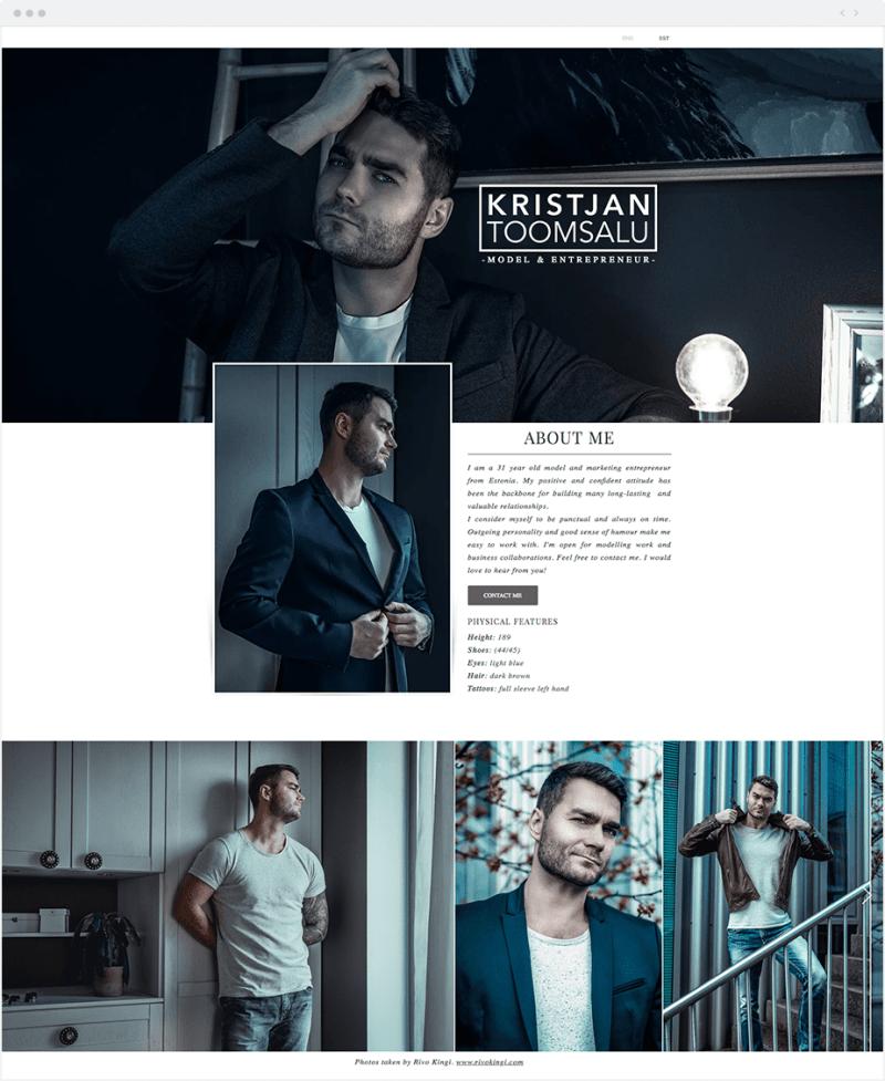 Wix-modelportfolio Kristjan Toomsalu