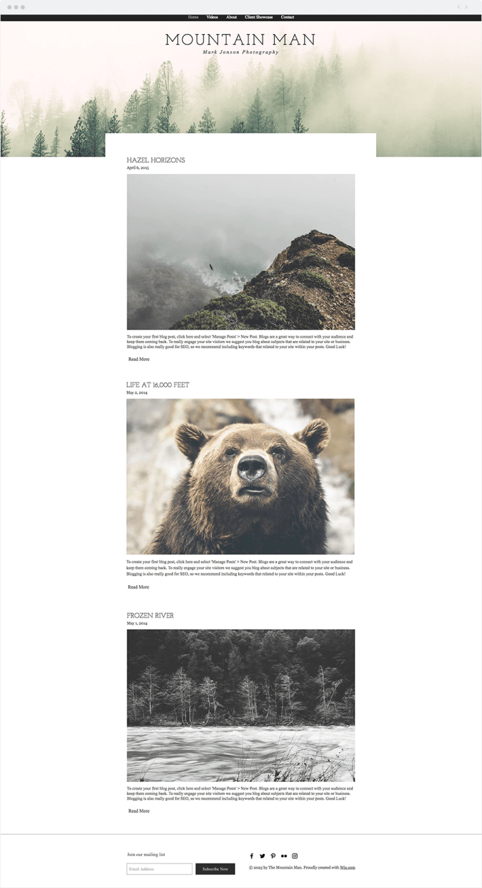 Screenshot of a photography blog