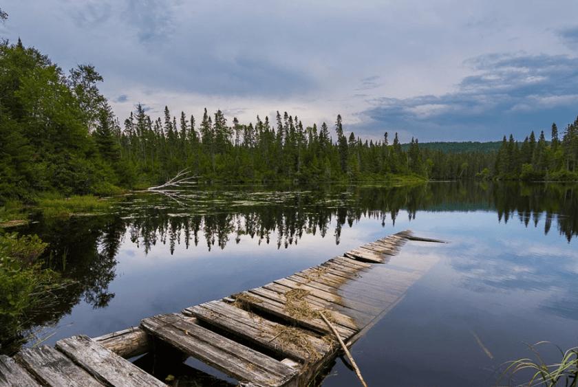 gebroken pier ondergedompeld in een blauw meer omgeven door groene bomen