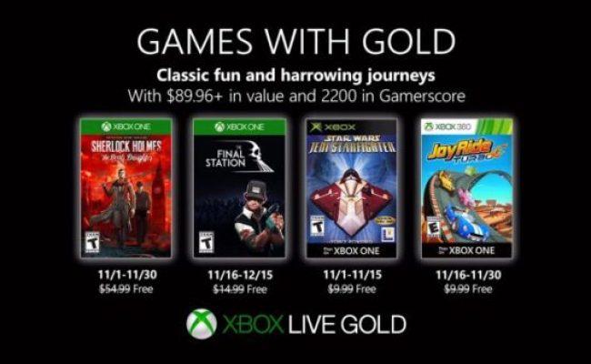Xbox Games With Gold Confira Os Jogos Grátis De Novembro