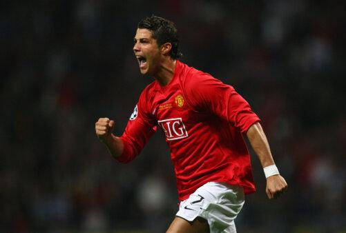 Cristiano Ronaldo celebrates goal scored in Champions League final, against Chelsea
