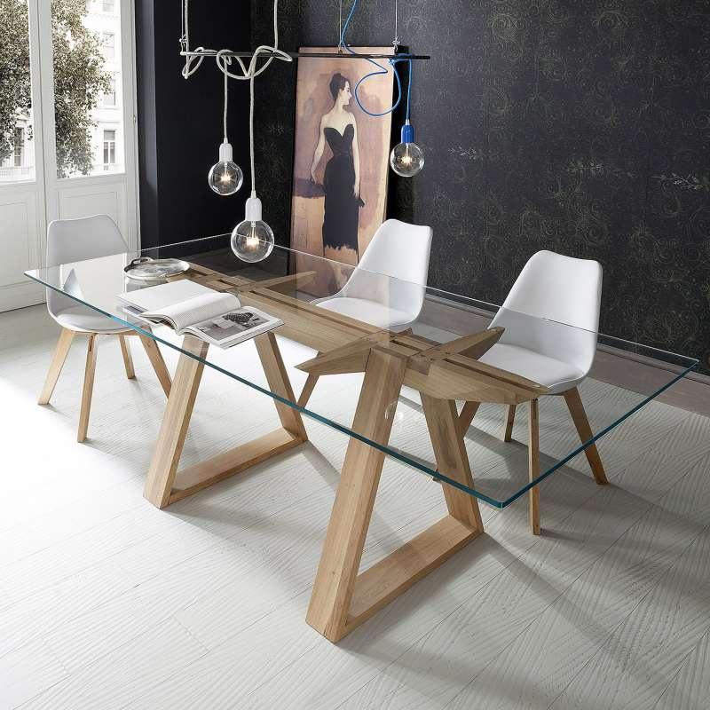 table design en verre trempe et bois massif tokyo