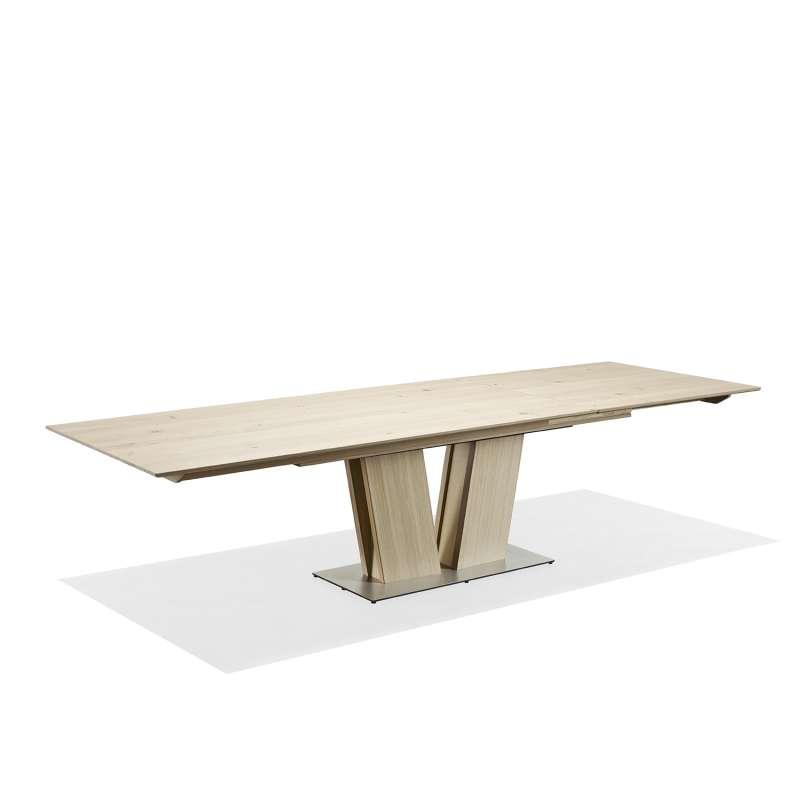 table en bois moderne extensible avec pied central sm39