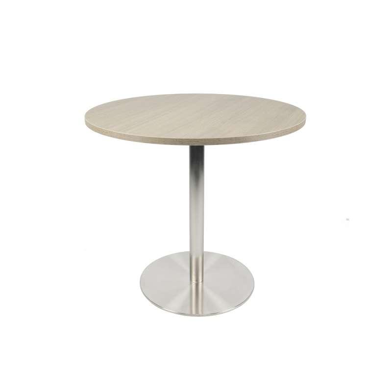 petite table de cuisine ronde en melamine avec pied central en inox porter