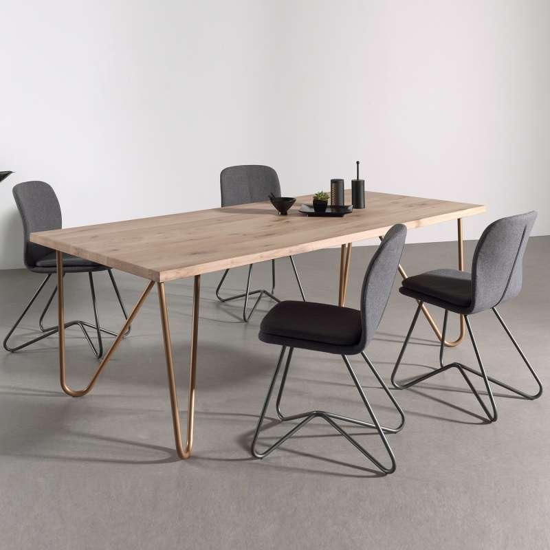 table design plateau bois massif pieds geometriques en metal weaver