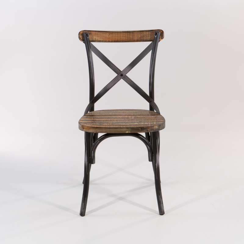 chaise bistrot vintage en bois et metal patine madie