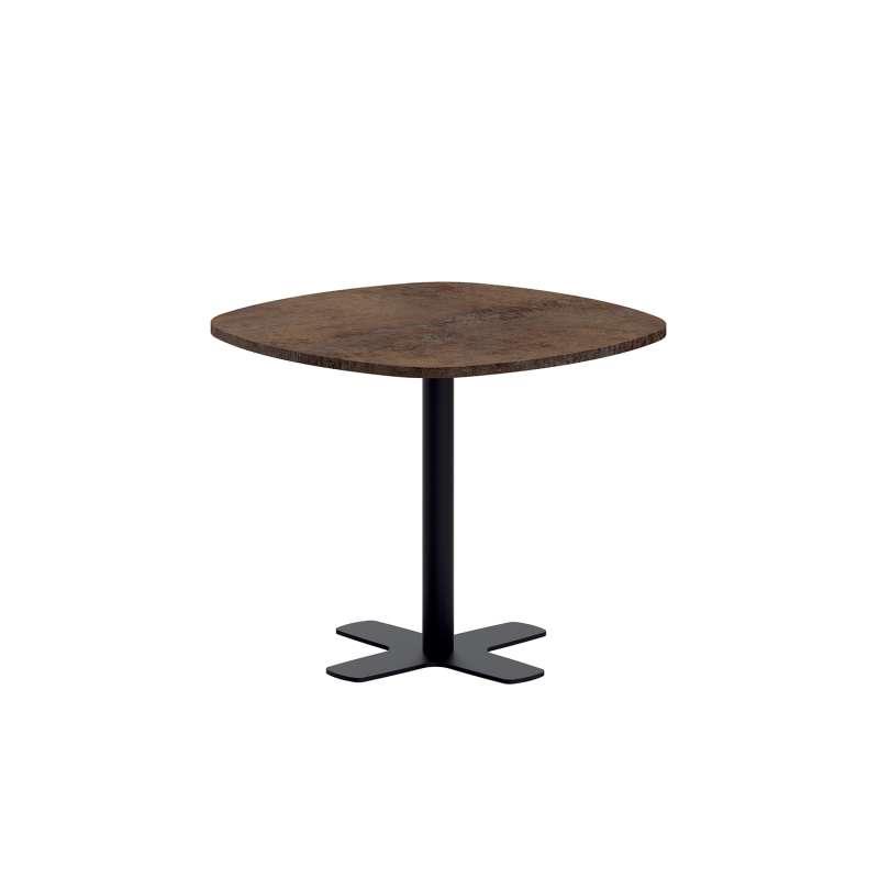 table de cuisine carree bords arrondis en stratifie avec pied central spinner