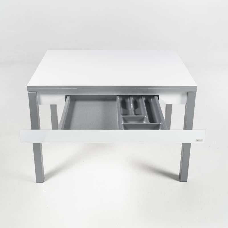 petite table de cuisine en melamine avec allonges et tiroir pieds alu iris