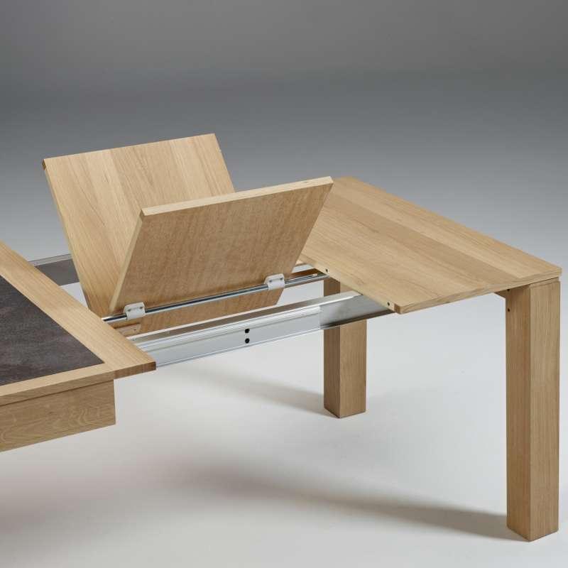 table contemporaine en ceramique et bois avec allonges made in france mrc41