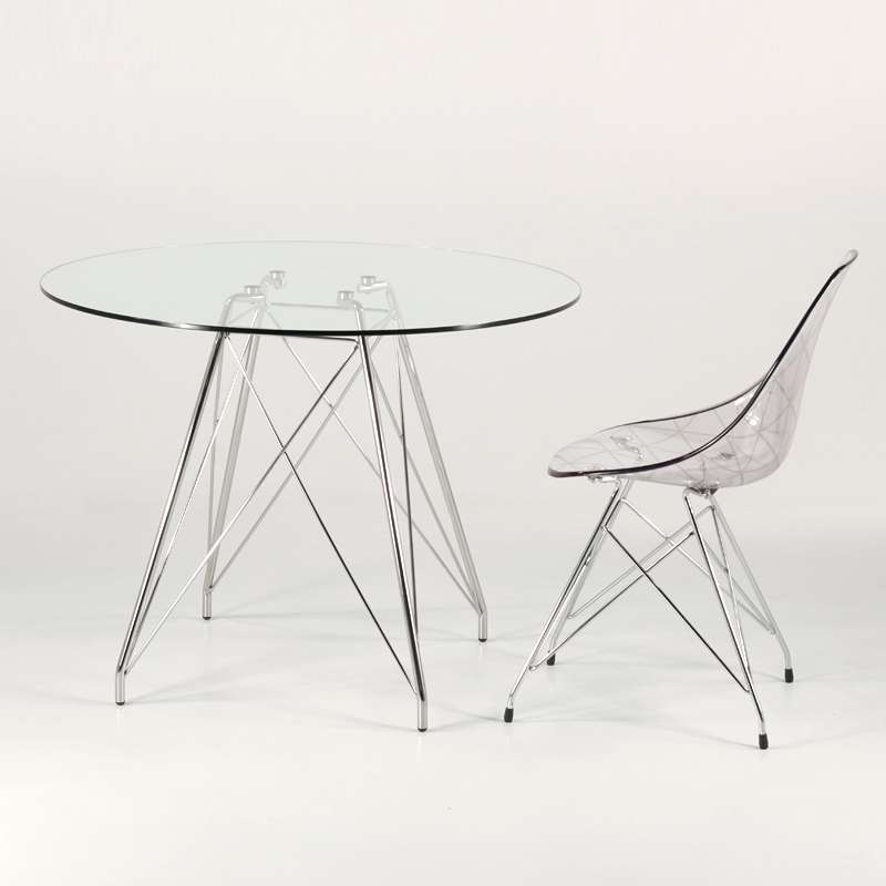 petite table ronde design en verre transparent avec pieds eiffel chromes glamour