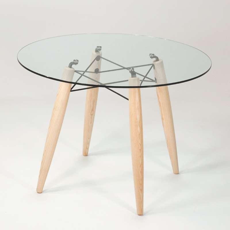 table ronde en verre transparent style scandinave avec pieds en bois blanchi souvenir