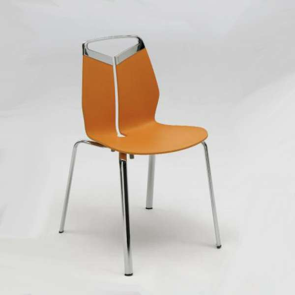 chaise design coque polypropylene pieds en metal gripp