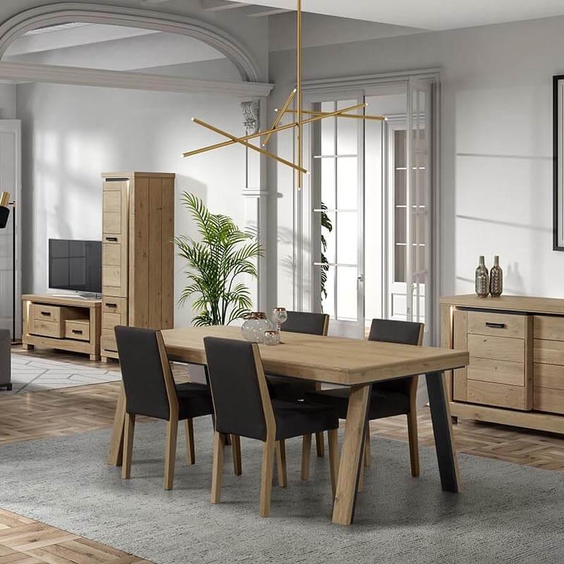 table de salle a manger en bois avec pieds obliques dublin