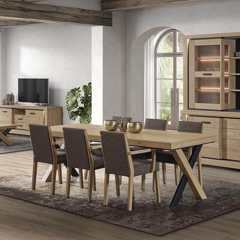 table de salle a manger en bois avec allonges pieds en x dublin