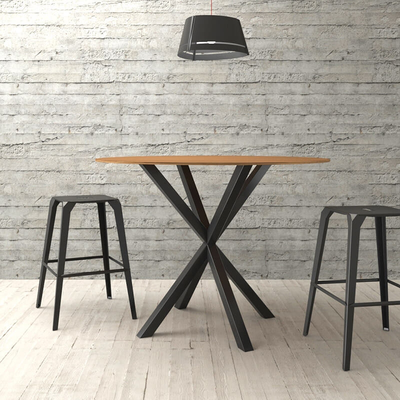pied de table central design en metal forme mikado rosace carrier