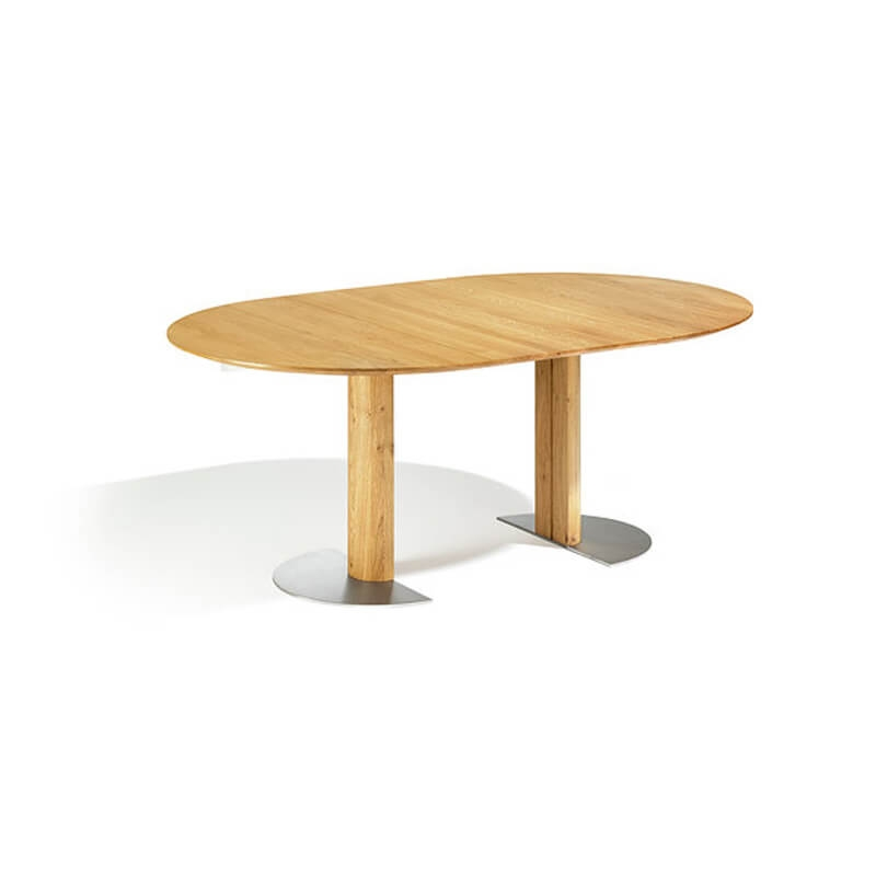 table ronde en bois massif extensible avec pied central 12 11