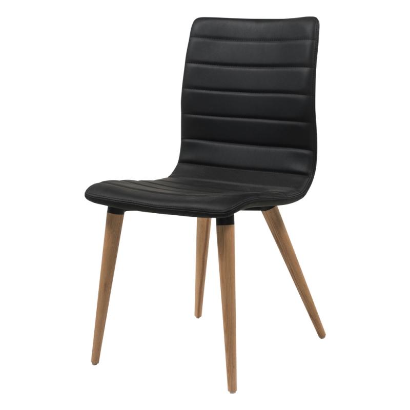 chaise scandinave noire avec pieds bois naturel doris