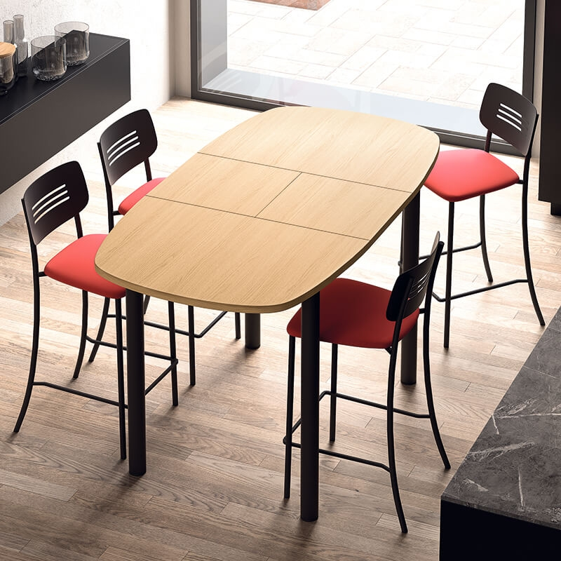 table snack de cuisine extensible en stratifie lustra