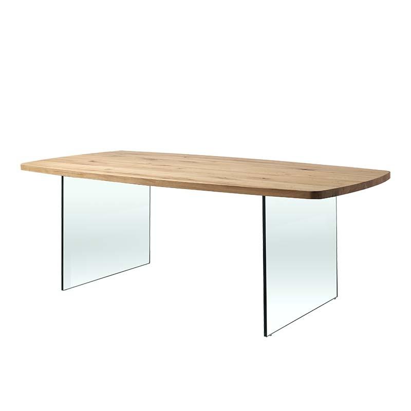 table de salle a manger pieds en verre et plateau tonneau en bois massif carte