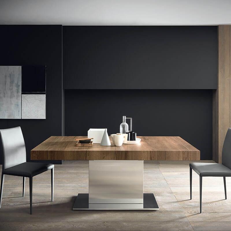 table ultra extensible pied central en metal et plateau en melamine tower maxi