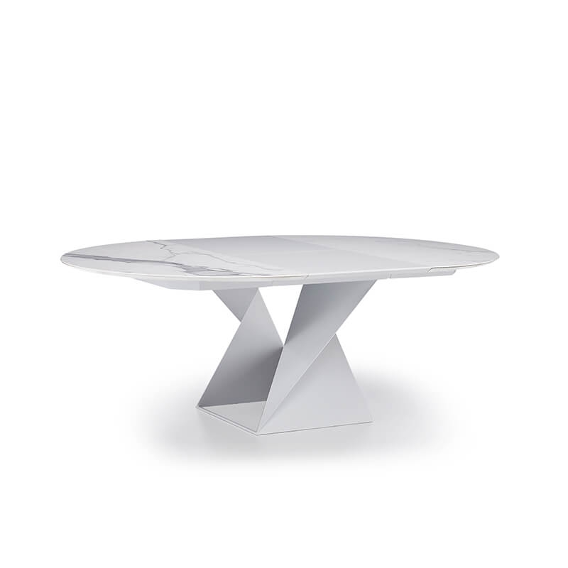table ronde extensible design pied central et plateau ceramique cube a