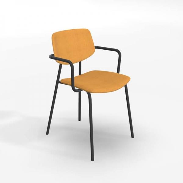 chaise avec accoudoirs retro et revetement en tissu lago