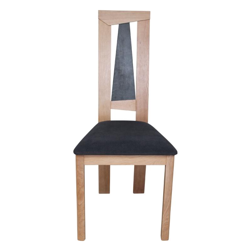 chaise francaise dossier haut en chene massif et assise tissu tower 1800g