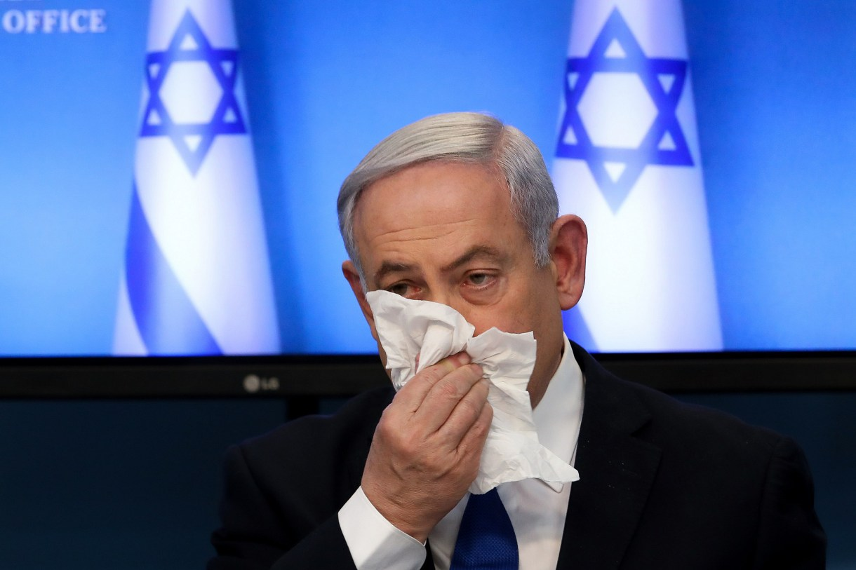 Israeli Prime Minister Benjamin Netanyahu at a press conference about COVID-19, at the Prime Minister's Office in Jerusalem on March 11, 2020. (Flash90)