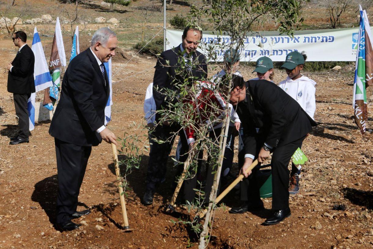 "Israeli Prime Minister Benjamin Netanyahu, Jerusalem mayor Nir Barkat, and Effi Stenzler, chairman of the KKL-JNF, take part in a ""Tu Bishvat"" tradition of planting trees, in the Jerusalem forest on January 15, 2014. (Yossi Zamir/Flash 90)"