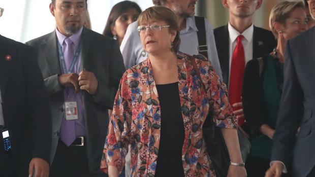 Michelle Bachelet a su llegada a Venezuela