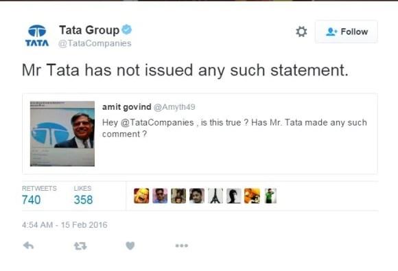 रतन टाटा ने जेएनयू छात्रों को नौकरी नहीं देने से जुड़ा कोई बयान नहीं दिया: टाटा समूह