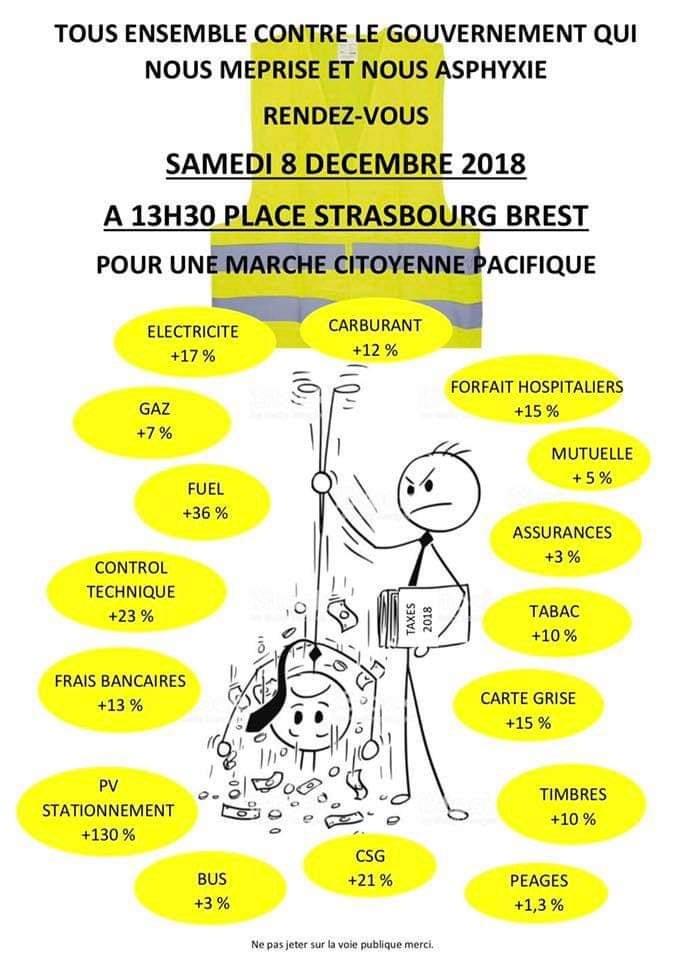 Le flyer (15 000 exemplaires) distribué par les gilets jaunes pour appeler le citoyen de la marche, samedi 8 décembre 2018, de la place de Strasbourg à 13h30