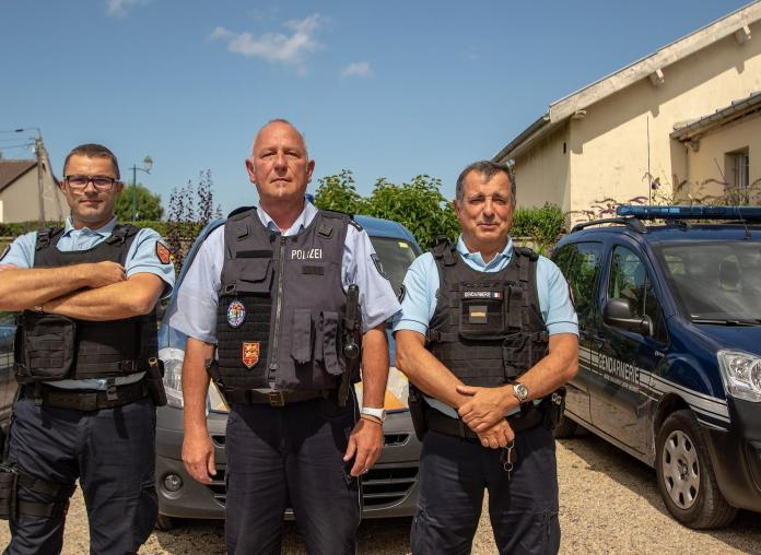 Chief Warrant Officer Olivier Vincent, Dover deputy brigade commander, German policeman Lutz Kollbach and Jean-Marc Fochesato, station chief of the detached brigade at Luc sur Mer.