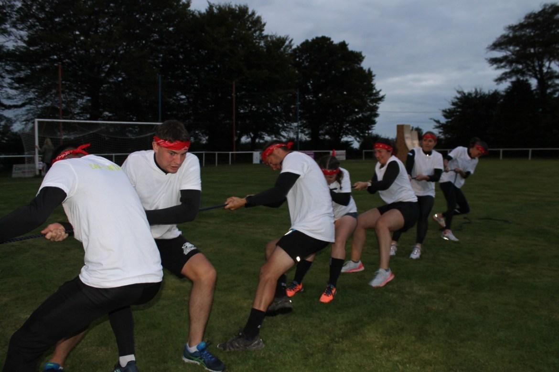The Decathlon team in full swing at tug of war.
